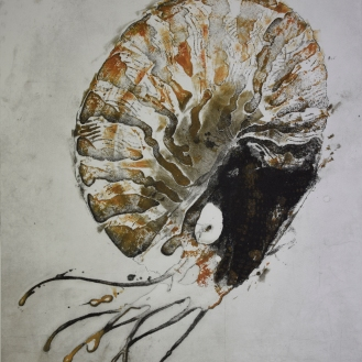 Nautilus III - 2016 - Monoprint - Size : 57 x 75 cm - Image : 49.5 X 62 cm - Ref: MNP032